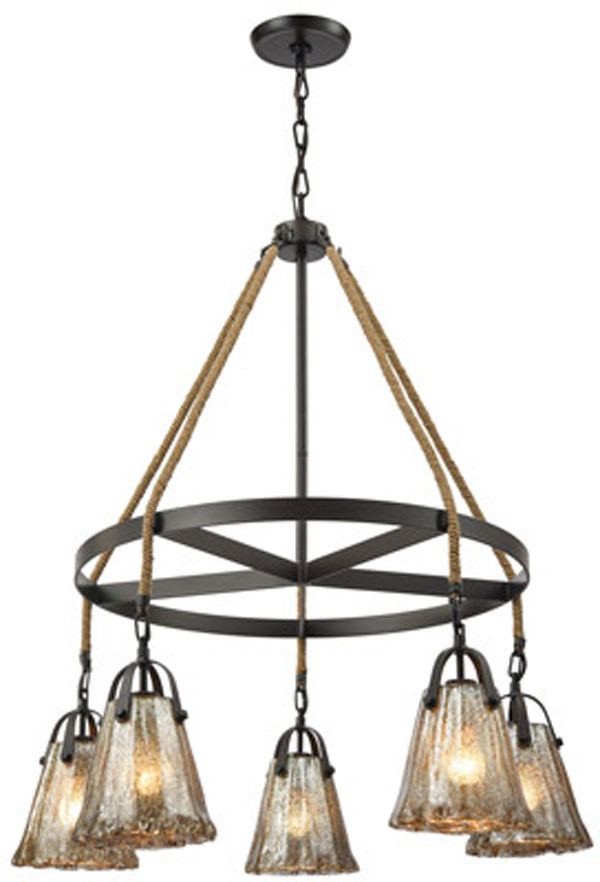 Hall Lighting & Design - Chandeliers - mercury glass, 5 light, oil rubbed bronze