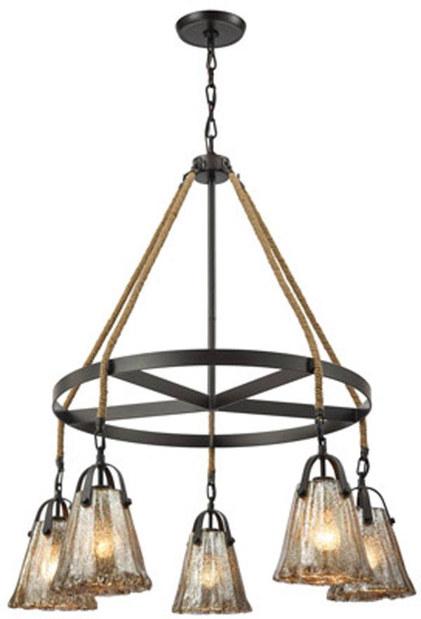 Hall Lighting & Design - Chandeliers - mercury glass, 5 light, oil rubbed bronze