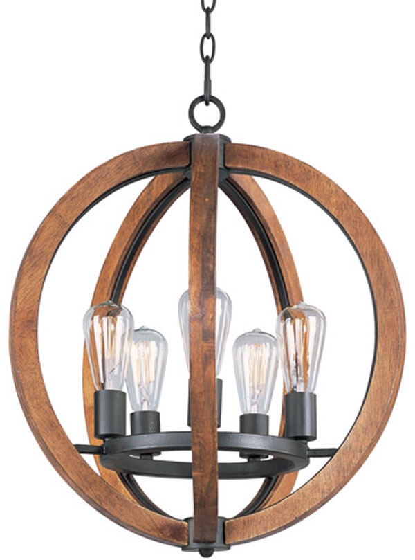 Hall Lighting & Design - Chandeliers - Bodega Bay, 5 light, wood, industrial