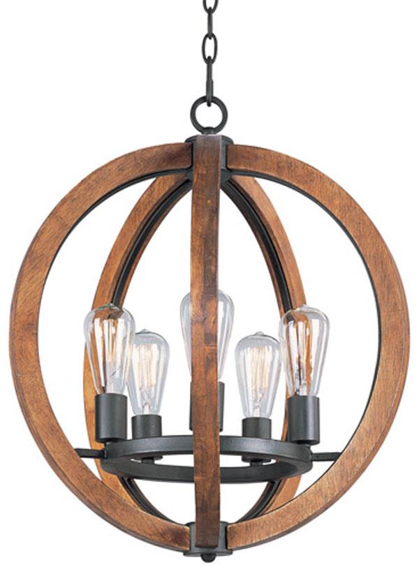 Hall Lighting & Design - Chandeliers - Bodega Bay, 5 light, wood, industrial