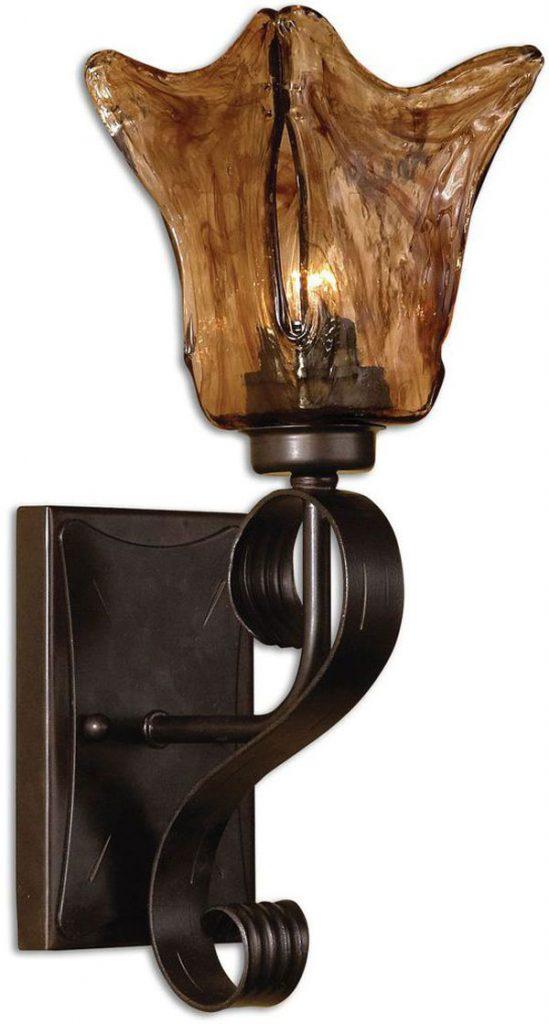 Hall Lighting & Design - Sconces - Vetraio, 1 light, iron work, heavy amber glass