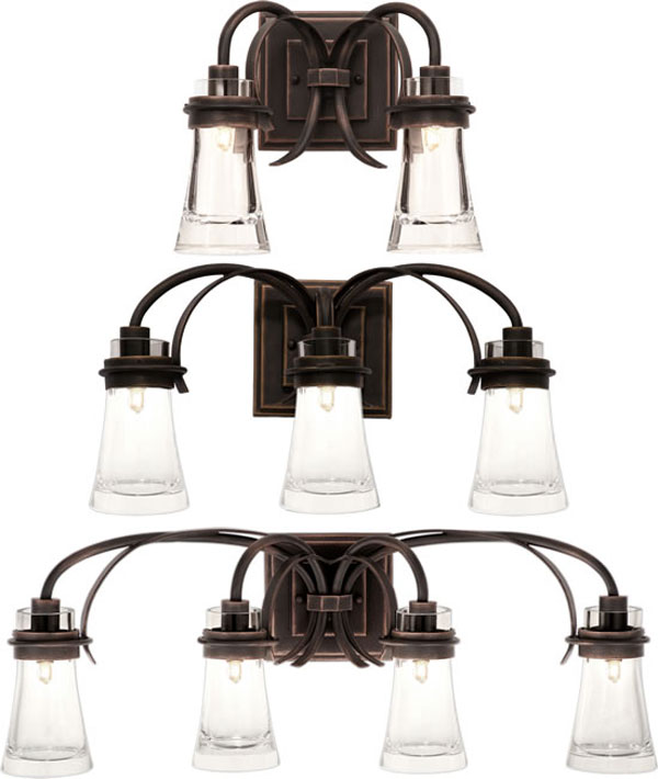 Hall Lighting & Design - Vanity Lighting - Dover series, 2 light, 3 light, 4 light, antique copper
