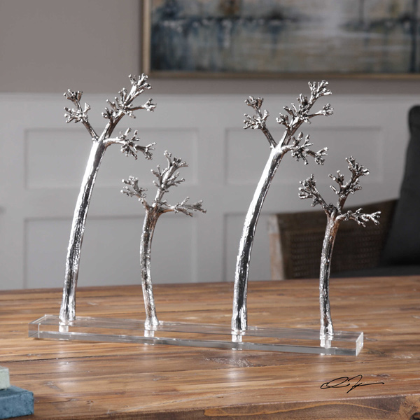 4-Tree-Silver-Sculpture