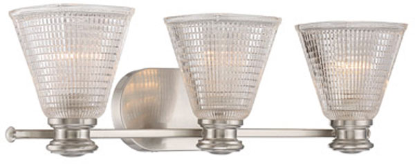 Hall Lighting & Design - Vanity Lights - Thorpe, 3 light, satin nickel