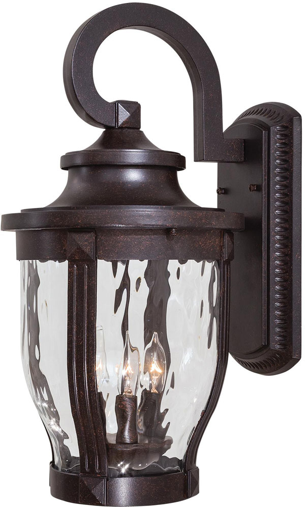 Hall Lighting & Design - Exterior Lighting - 3 Light Wall Mount in Corona Bronze™ Finish w/Clear Hammered Glass