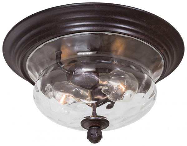 Hall Lighting & Design - Exterior Lighting - 2 light, flush mount, clear hammered glass