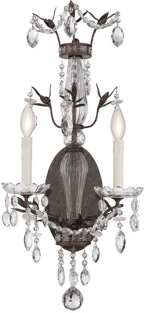 Hall Lighting & Design - Sconces - Sheraton, 2 light, crystal, wall sconce, traditional, candle, tortoise shell
