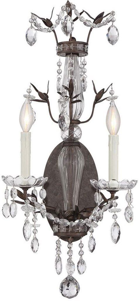 Hall Lighting & Design - Sconces - Sheraton, 2 light, crystal, wall sconce, traditional, candle, tortoise shell