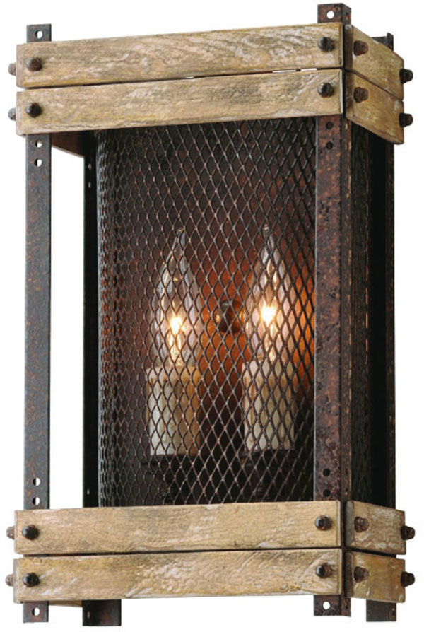 Hall Lighting & Design - Sconces - Merchant Street, 2 light, iron mesh, iron, salvaged wood