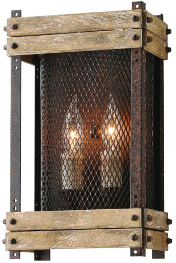 Hall Lighting & Design - Sconces - Merchant Street, 2 light, iron mesh, iron, salvaged wood