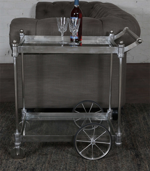 Brushed-Steel-Drink-Cart