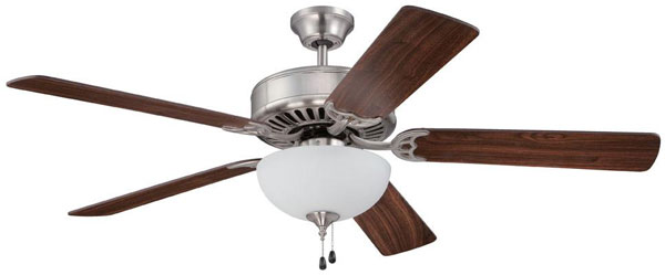 "Hall Lighting & Design - Interior Fans - 52"" Brushed Nickel, Wanut Blade"