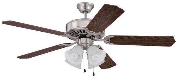 """Hall Lighting & Design - Interior Ceiling Fans - 52"""" Brushed Nickel, 4 light CFL"""