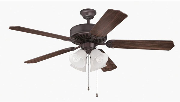 "Hall Lighting & Design - Interior Fans - 52"" Oil Rubbed Bronze, walnut blades, 4 light CFL"