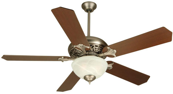 "Hall Lighting & Design - Interior Ceiling Fan - 52"" Pewter finish, 5 blade, traditional"