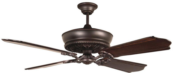 "Hall Lighting & Design - Interior Fan - 52"" Oiled Bronze Guilded, 4 Blade"