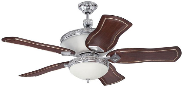 "Hall Lighting & Design - Interior Ceiling Fans - 52"" chrome finish, uplight, remote included, optional blade choice"