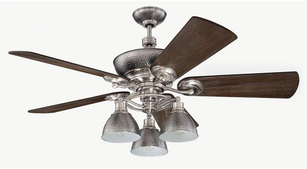 "Hall Lighting & Design - Interior Ceiling Fan - 54"" Polished Nickel finish, uplight, down light, vintage style bulbs included"