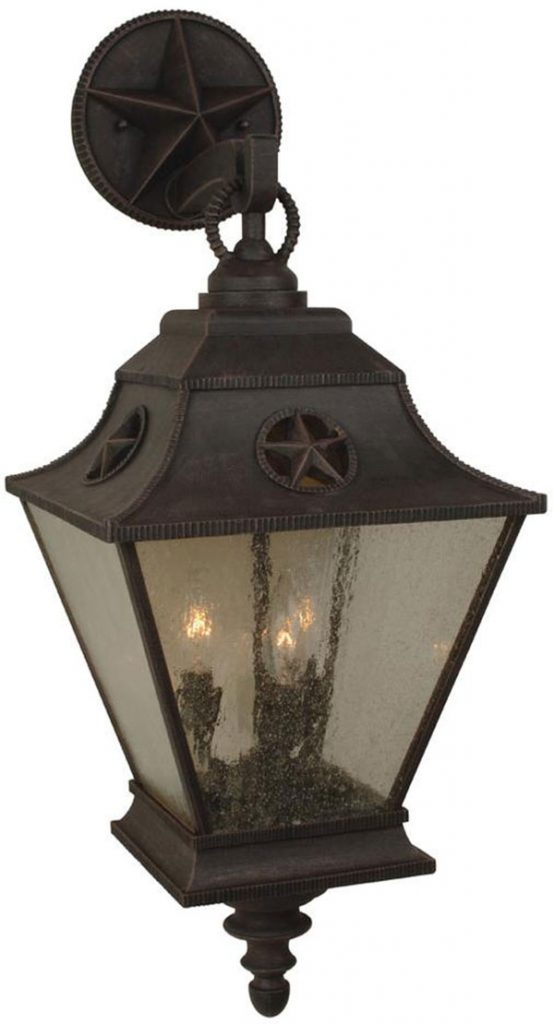 Hall Lighting & Design - Exterior Lighting - Chapparall, rust, 3 light, texas star