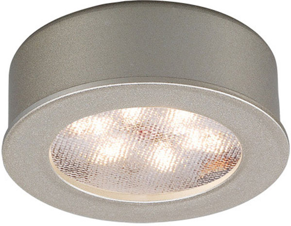 Hall Lighting & Design - Under Cabinet Lighting - LED puck, mount, recessed, button light, 3000k, brushed nickel