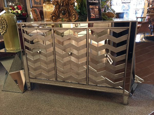 mirrored modern chevron cabinet