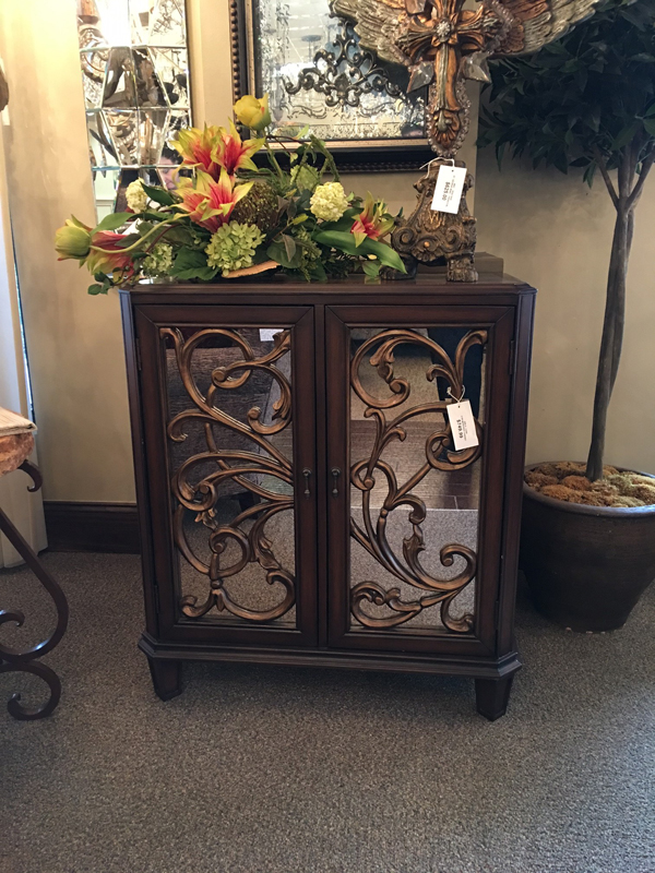 scroll design mirrored cabinet