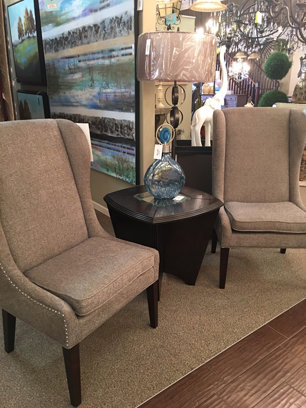 Grey flannel transitional wing chair
