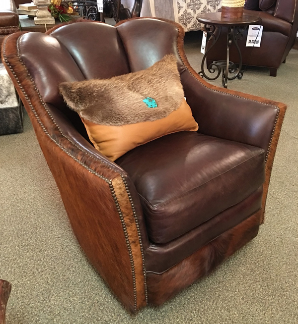 Hair on Hide, leather, swivel chair