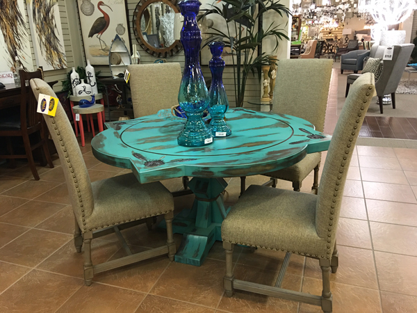 Dining Table   Turquoise. Painted, Embellished, Wood Table