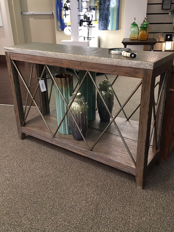 metal and wood sofa table