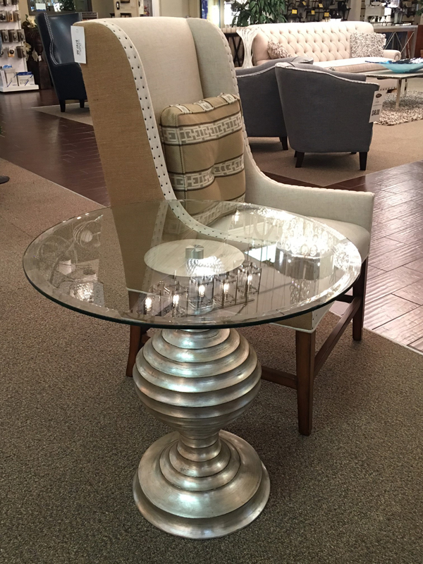 silver metallic side table