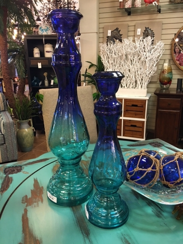 blue ombre glass vase