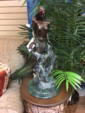 mermaid and dolphin decor statue