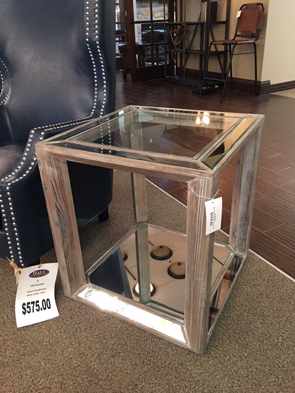 glass and wood decorative side table