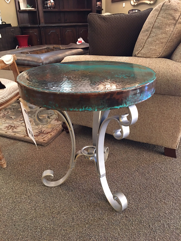 green copper side table
