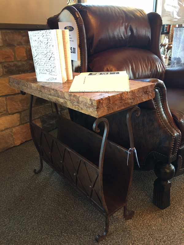 Stone and metal side table