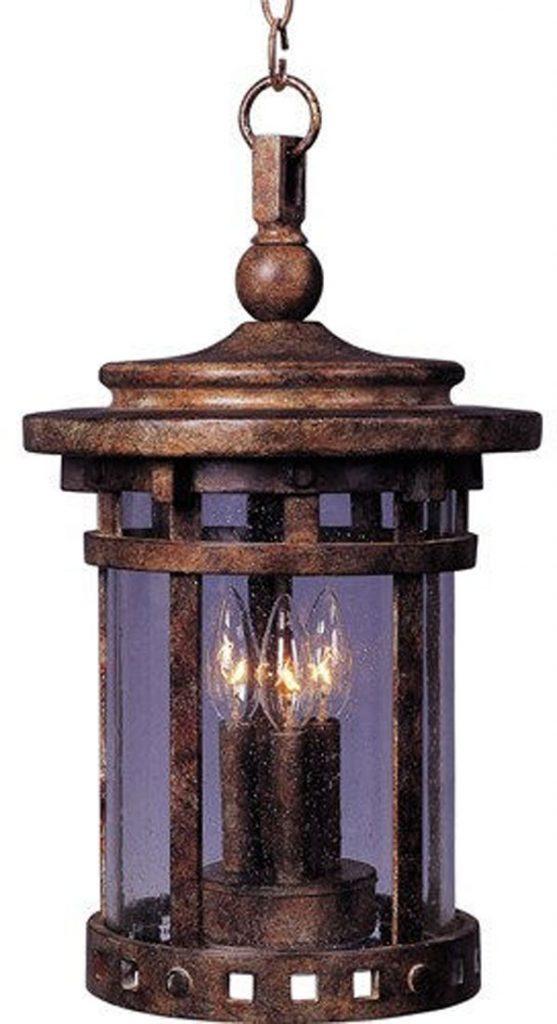 Hall Lighting & Design - Exterior Lighting - Vivex, 3 light, hanging, seed glass, sienna finish