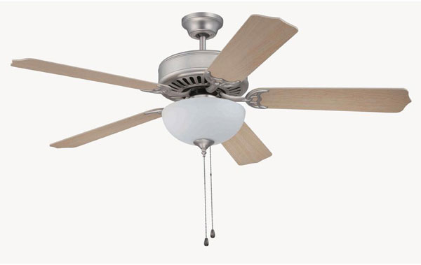 "Hall Lighting & Design - Interior Ceiling Fans - 52"" Brushed Nickel"