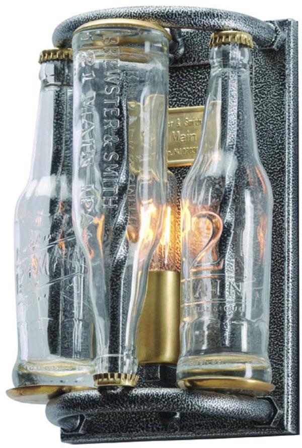 Hall Lighting & Design - Sconces - 121 Main, 1 light, pressed glass, bottles, wrought iron