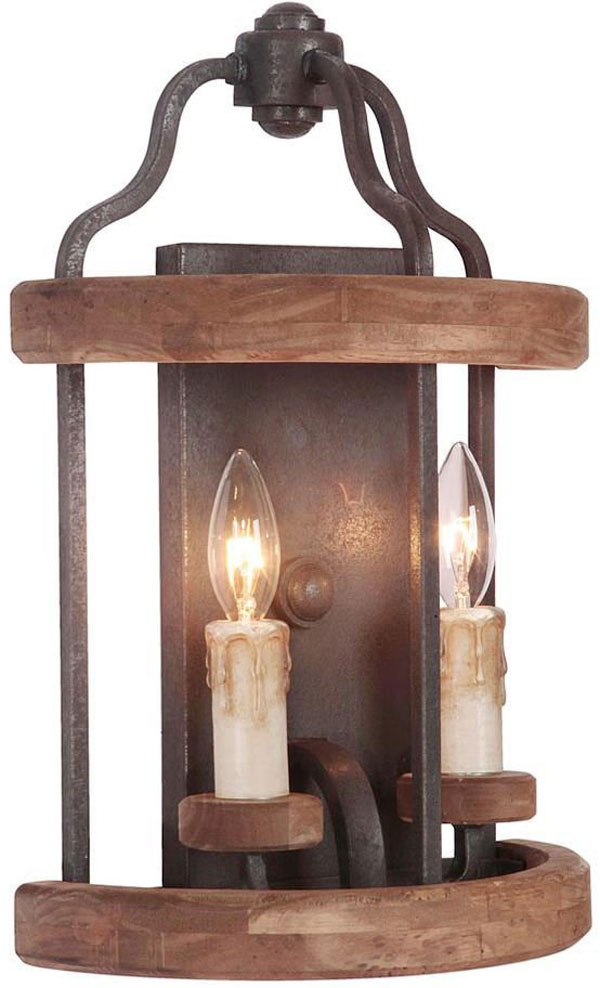Hall Lighting & Design - Sconces - Ashwood, 2 light, textured black, whiskey barrel finish