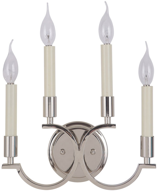 Hall Lighting & Design - Sconces - Crescent, 2 light, polished nickel