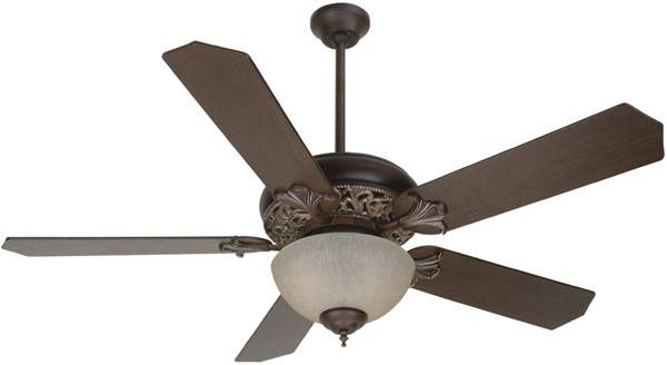 "Hall Lighting & Design - Interior Ceiling Fans - 52"" Aged Bronze Vintage Madera finish, CFL, 5 blade"