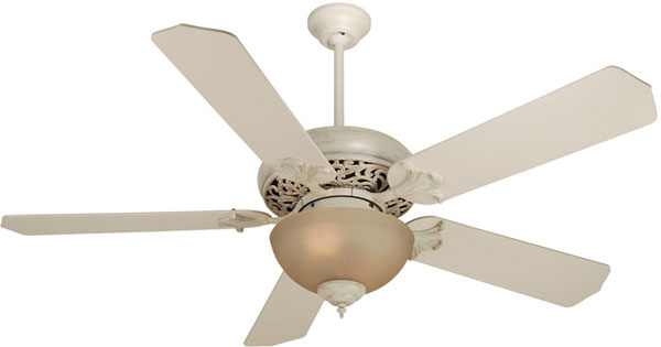 "Hall Lighting & Design - Interior Ceiling Fans - 52"" Antique White, CFL, 5 blade"