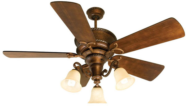 "Hall Lighting & Design - Interior Ceiling Fans - 52"" Burnt Sienna Finish, 5 blade"